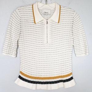 3.1 Phillip Lim collar zip short sleeve knit top